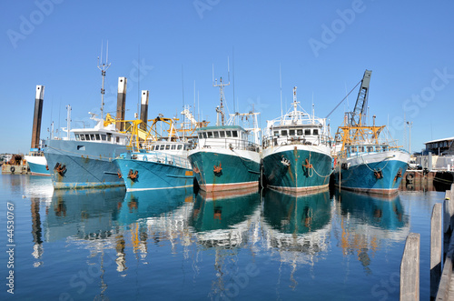 canvas print picture Fishing Boats in a Harbour