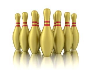 ten golden bowling pins isolated on white background