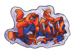 Fototapete Groß - Blau - Graffiti