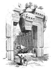 Baalbek : Antique Bacchus Temple - view 19th century