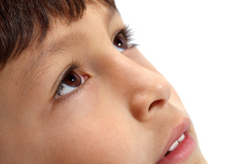 Macro close-up of young boy's eyes