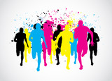 Fototapety CMYK Marathon Runners