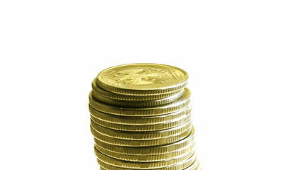 growing stack of coins isolated on white, then decrease