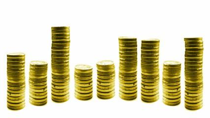 loop growing and reducing stacks of coins