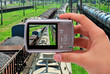 photographing train