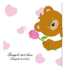 oso con una flor. Tarjeta de amor