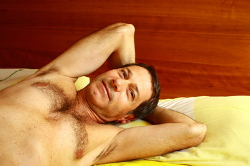 Atractive man awaking