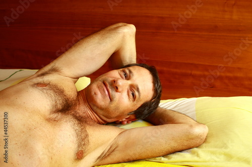 Atractive man awaking