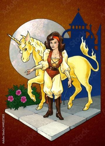 Poster Pony Unicorn rider, 70's style fantasy