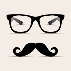 Hipster glasses, Hipsta man. Vector
