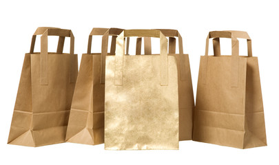 Many organic green paper bags