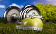 Fitness diet and green grass