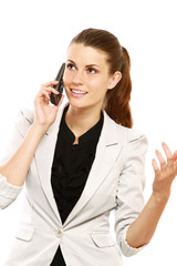A successful businesswoman talking on the phone