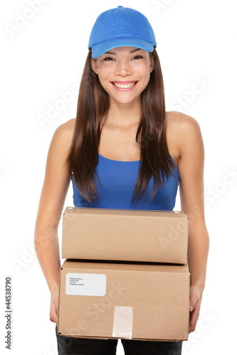 Delivery person holding packages