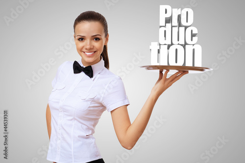 Waitress holding a tray with word