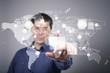 Businessman pressing social media icon