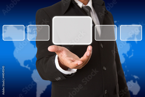 Screen Button Interface on Business hand