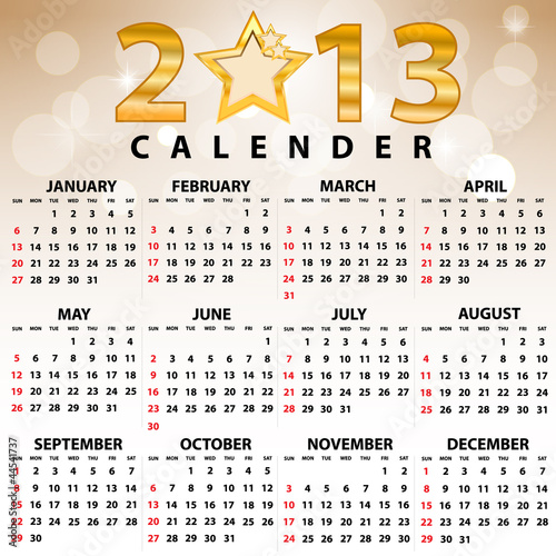 2013 Calendar full year. 12 months. Vector illustration