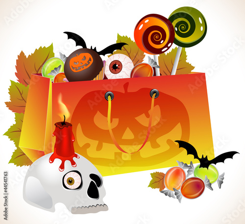 Halloween shopping bag with scary face and sweets