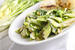 baked Romaine lettuce with garlic and pine cores