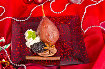 pear helene in red wine with spices