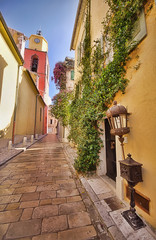 narrow street in Saint Tropez, France