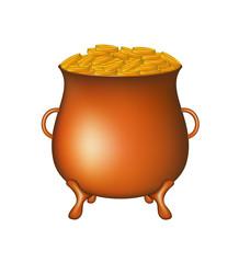 Pot with golden money coins