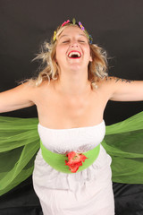 Mujer rubia flower power