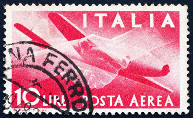 Postage stamp Italy 1945 Plane and Clasped Hands
