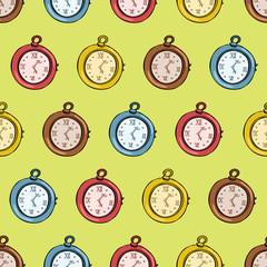 retro clock seamless pattern