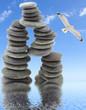 empilement de galets sur fond de ciel
