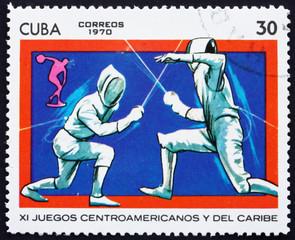 Postage stamp Cuba 1970 Fencing