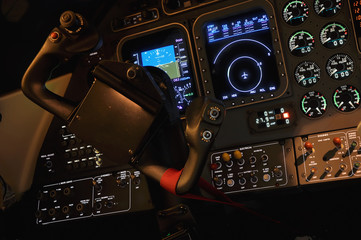 Lit iluminated pilot cabine dashboard cockpit
