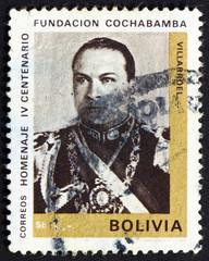 Postage stamp Bolivia 1968 Gualberto Villarroel Lopez, President