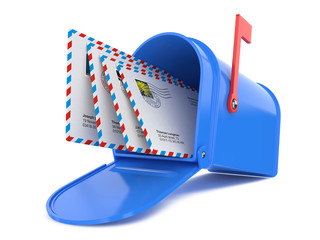 Blue Mailbox with Mails