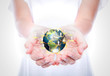 Women hand hold earth of social network  (Elements of this image