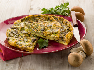 omelette with mushroom and parsley