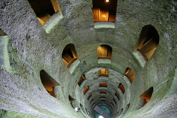 Incredible interior of deep ancient well of San Patrizio
