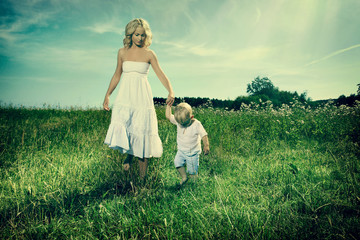 Mother and son outdoor