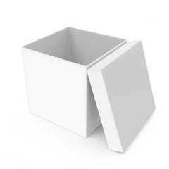 Opened White Blank Box isolated on white background