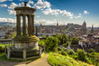 View of the castle from Calton Hill in sunny day