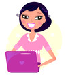 Office woman working with pink Laptop