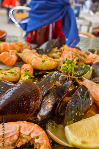 grilled seafood- parrillada de marisco, traditional spanish dish