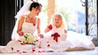 Cute Blonde Flower Girl Laughing Bride