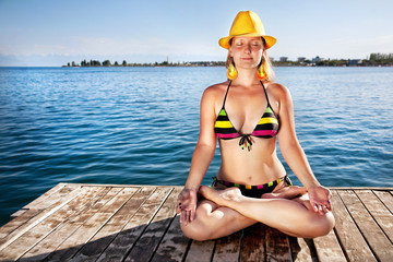Meditation in yellow hat