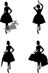 ladies in silhouette from fifties with objects