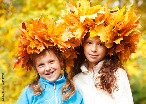 Friends in autumnal headwreaths