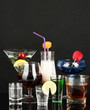 a variety of alcoholic drinks isolated on black