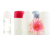 deodorants with flower isolated on white