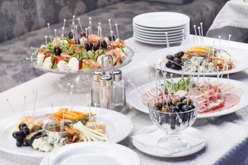 catering food on table